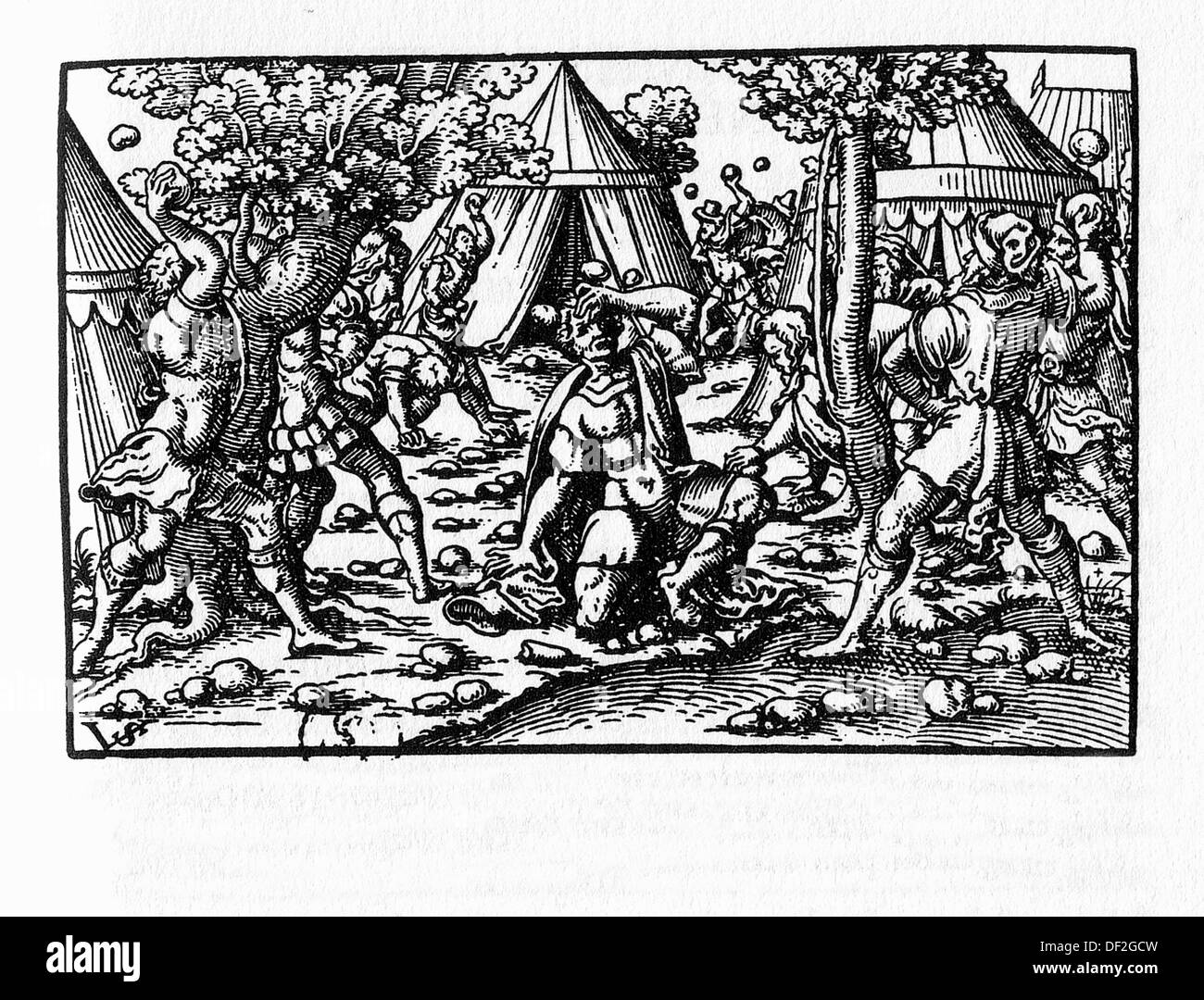 Lapidation of a culprit. German Bible, Frankfurt, 1570. - Stock Image