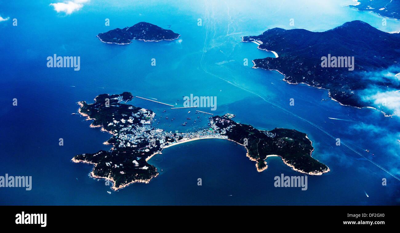 An aerial view of Cheung Chau island near Lantau in Hong Kong. - Stock Image