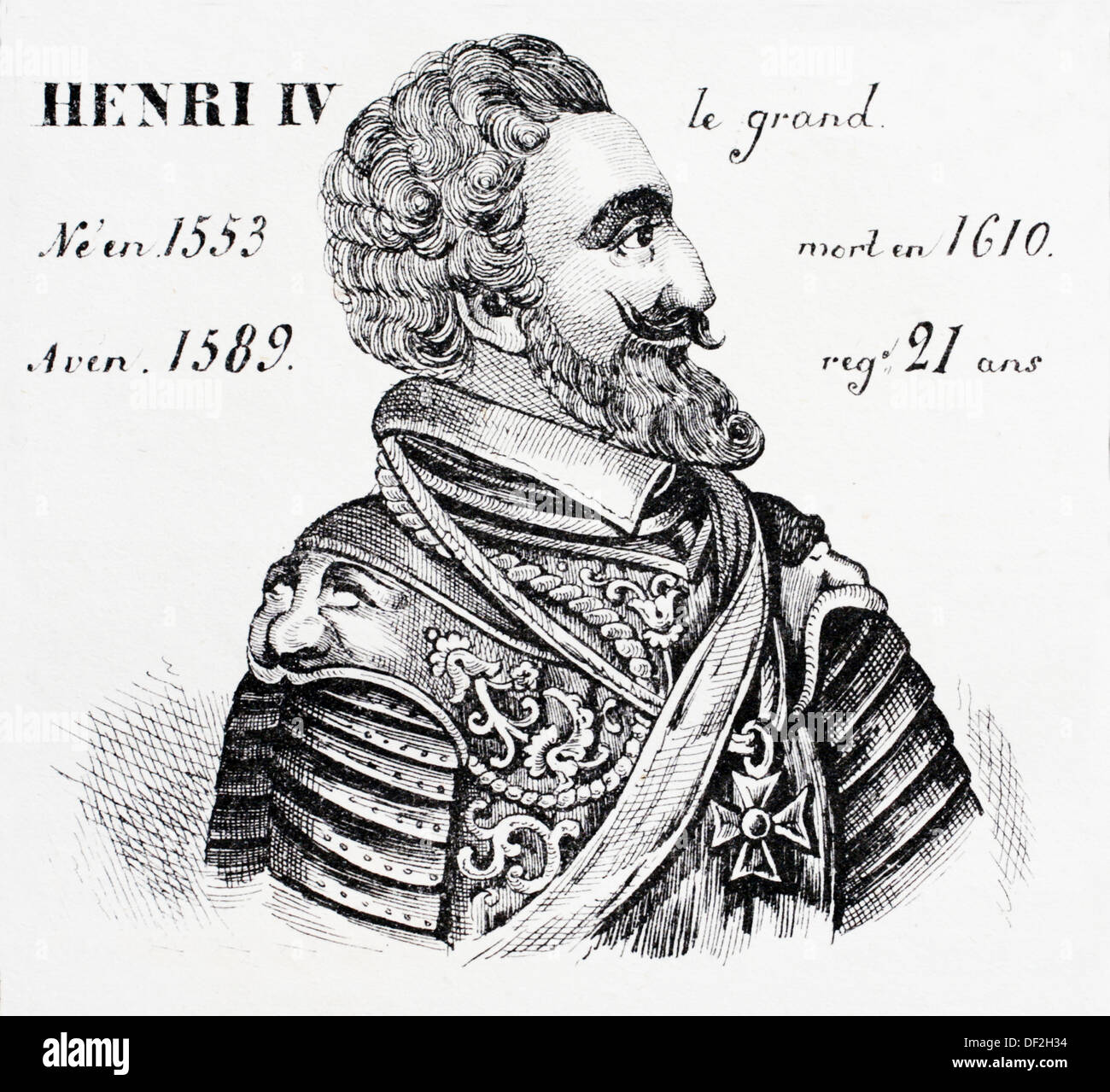 Henri IV, le grand, king of France from 1589 to 1610. History of France, by  J.Henry (Paris, 1842) Stock Photo
