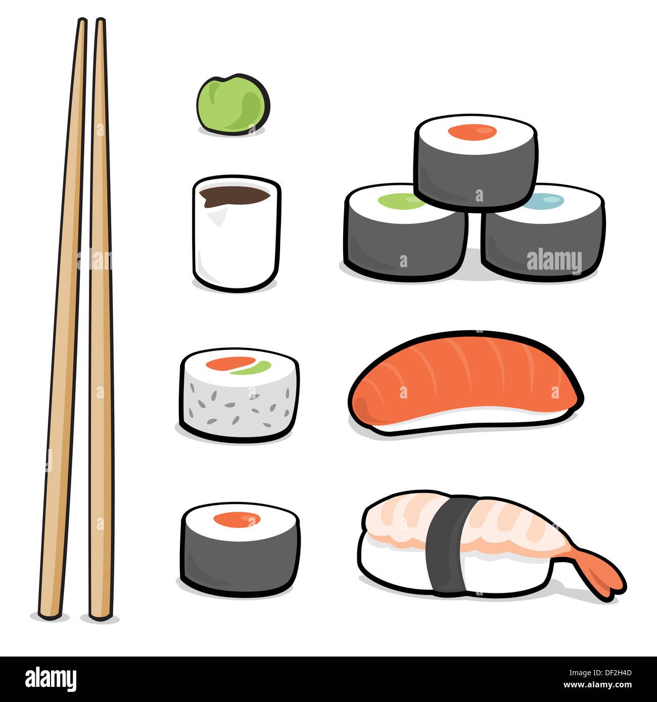 Cartoon Illustration Of A Sushi Set Stock Photo 60908301