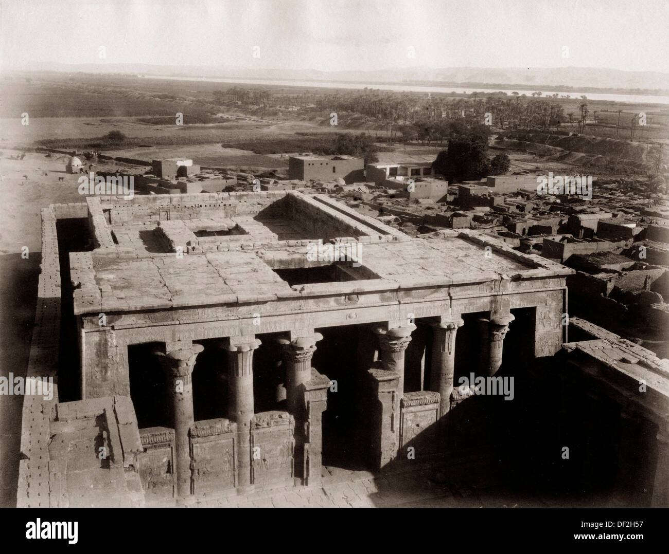 View of the temple. (photograph, 1890´s). Edfu, Egypt. - Stock Image