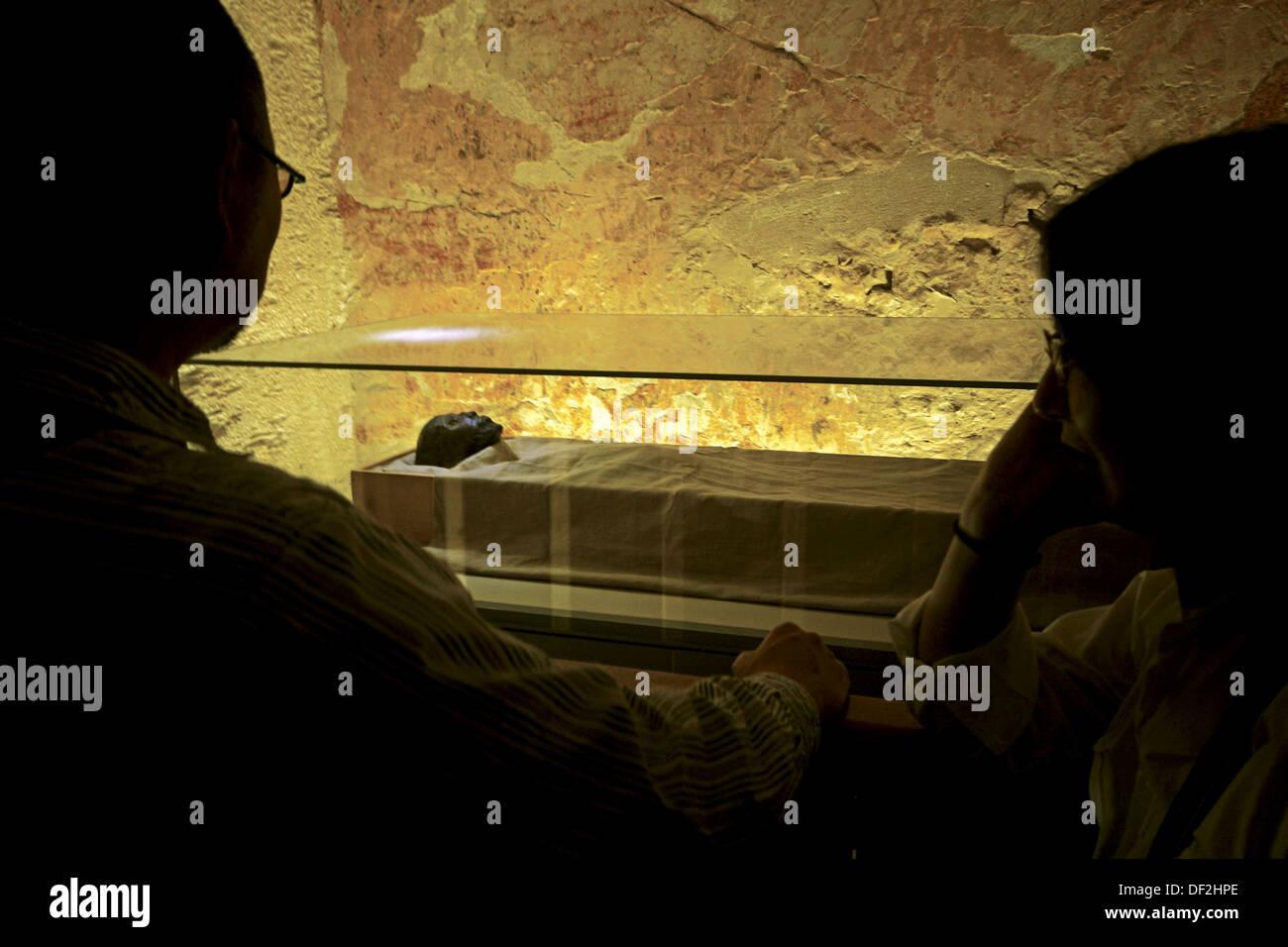 Tumb of Tut Ank Amon.  Mummy of Tut Ank Aman. Luxor west bank. Egypt - Stock Image