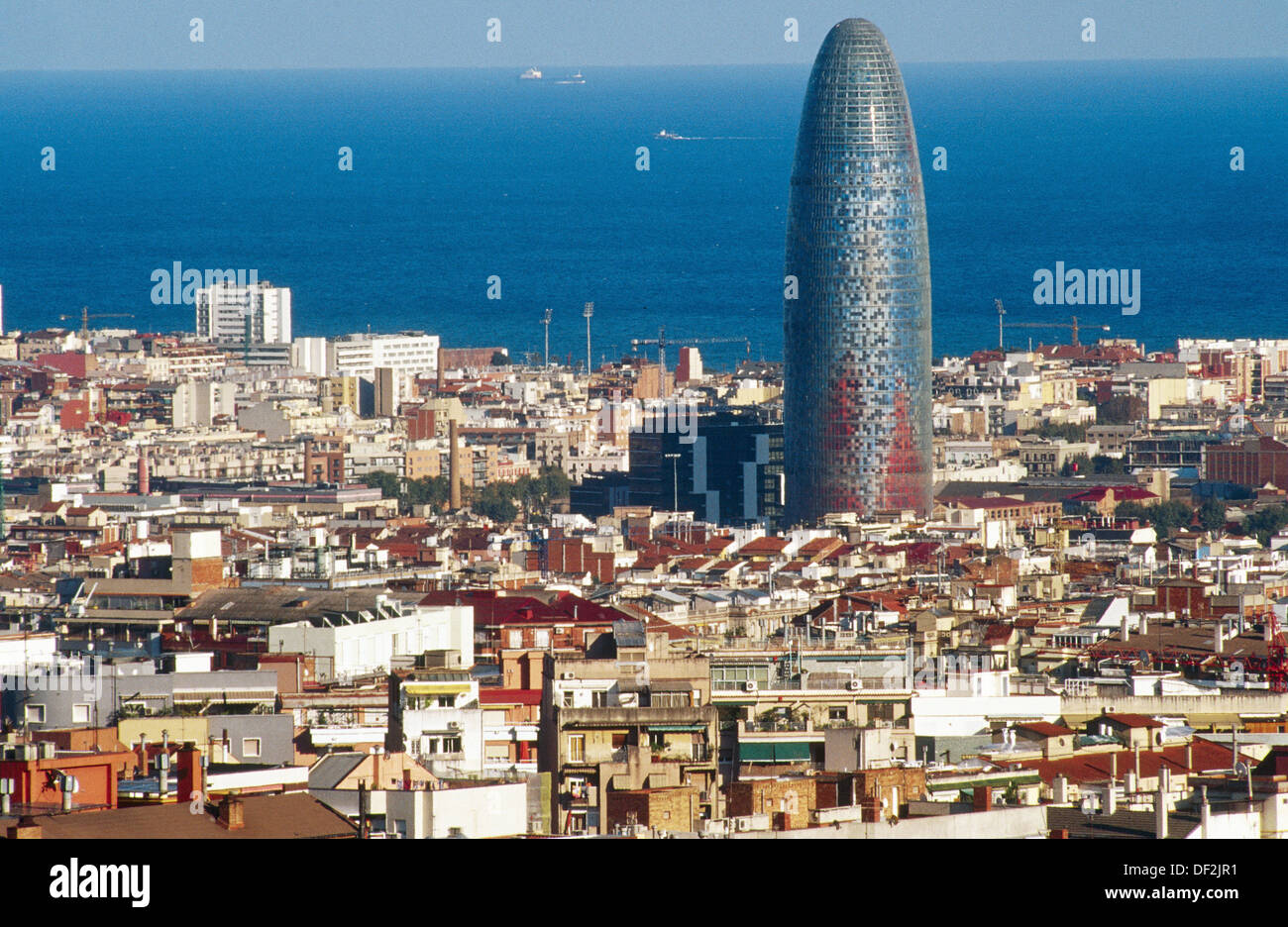 Agbar Tower (142 m. ) by Jean Nouvel, Barcelona. Catalonia, Spain - Stock Image