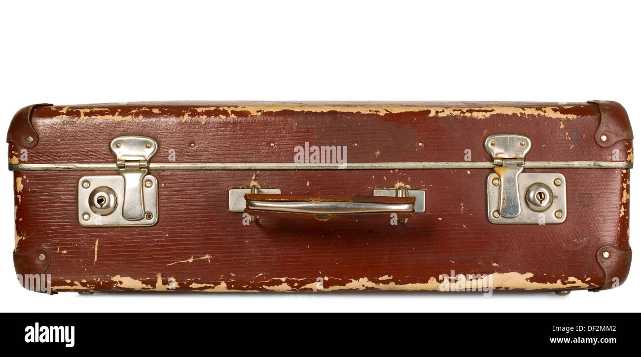 Vintage old brown suitcase on white isolated background - Stock Image