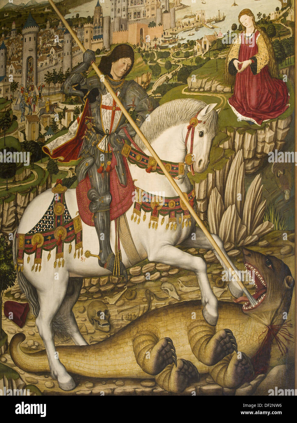 St George and the Dragon (1468-1470, distemper and oil on wood), painting  by Pere Niçard, Diocesan Museum, Palma de Mallorca.