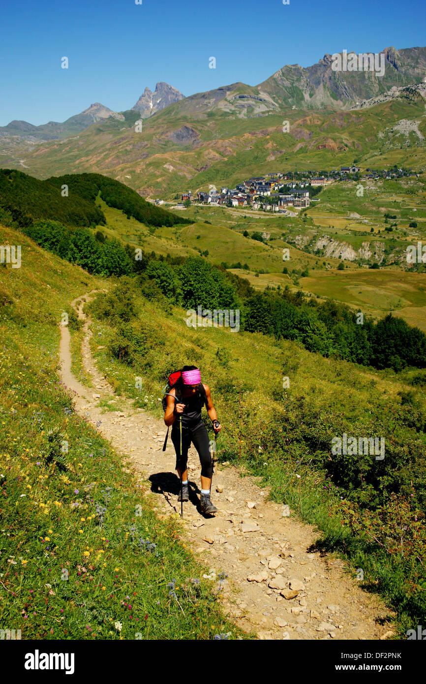 walker in Valle de Tena Huesca Pyrenees Pyrenees Mountains Spain Stock Photo