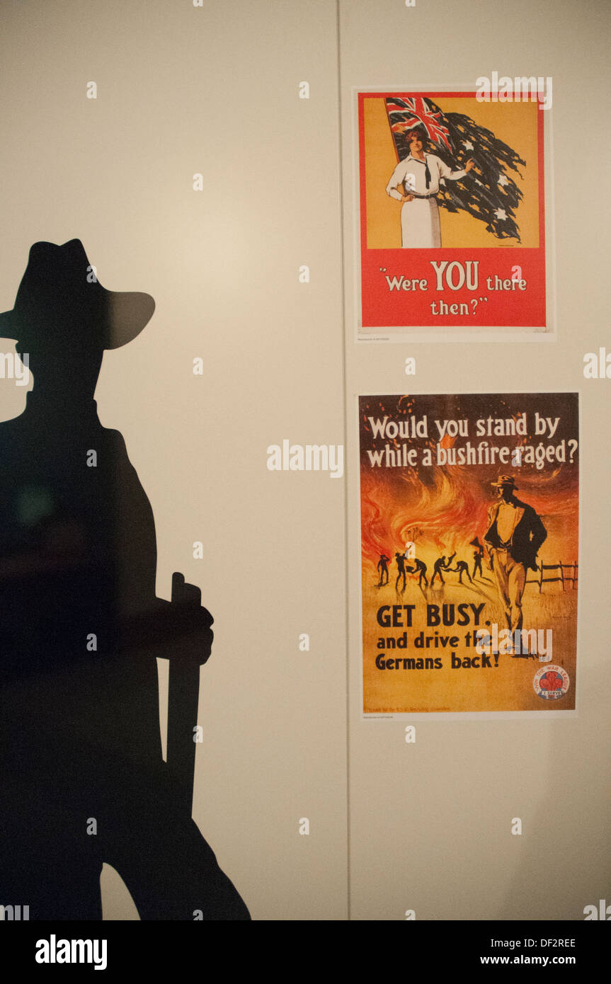 Patriotic propaganda posters, Australian War Memorial, Canberra - Stock Image