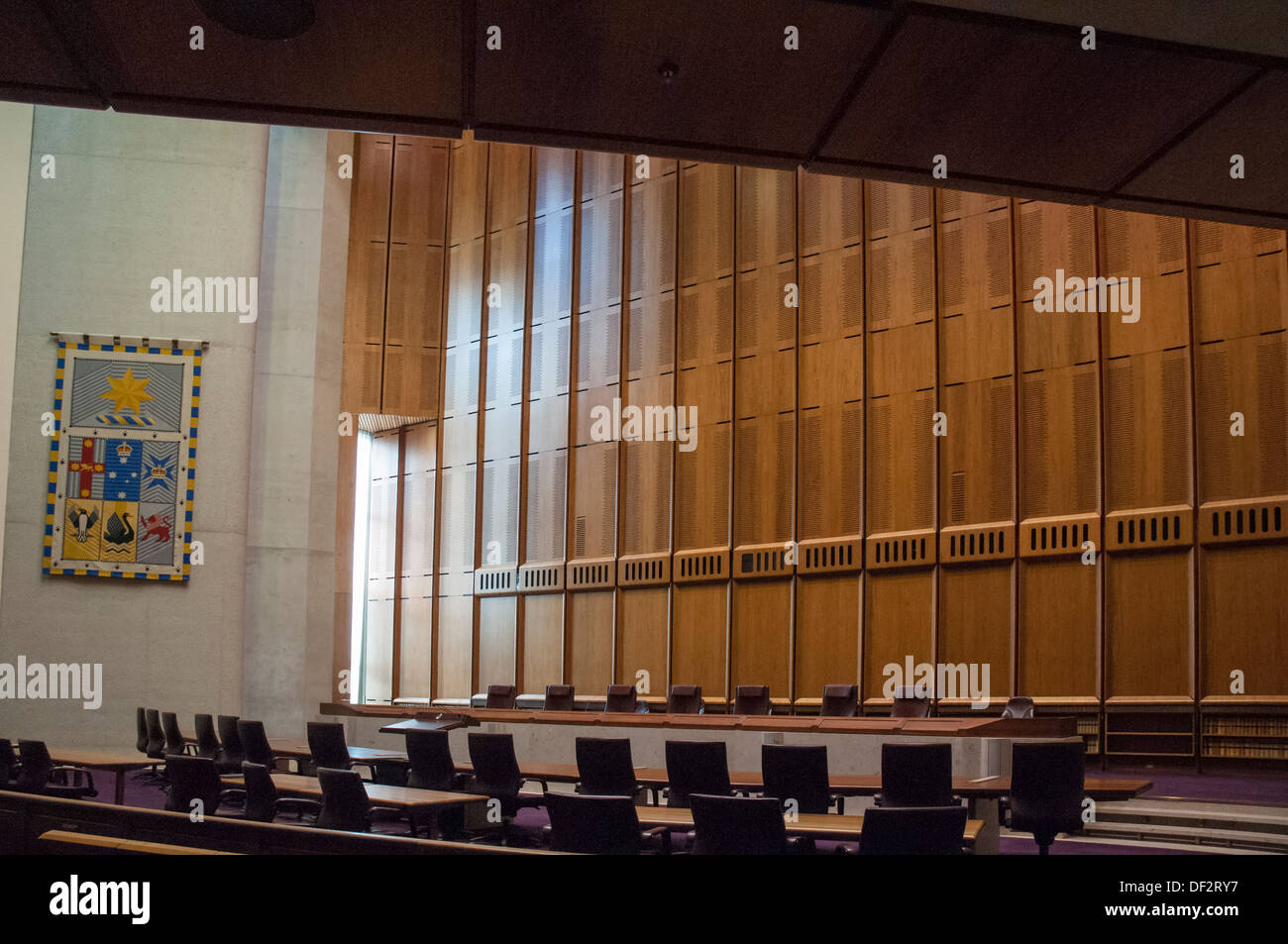 Courtroom in the High Court of Australia at Canberra - Stock Image