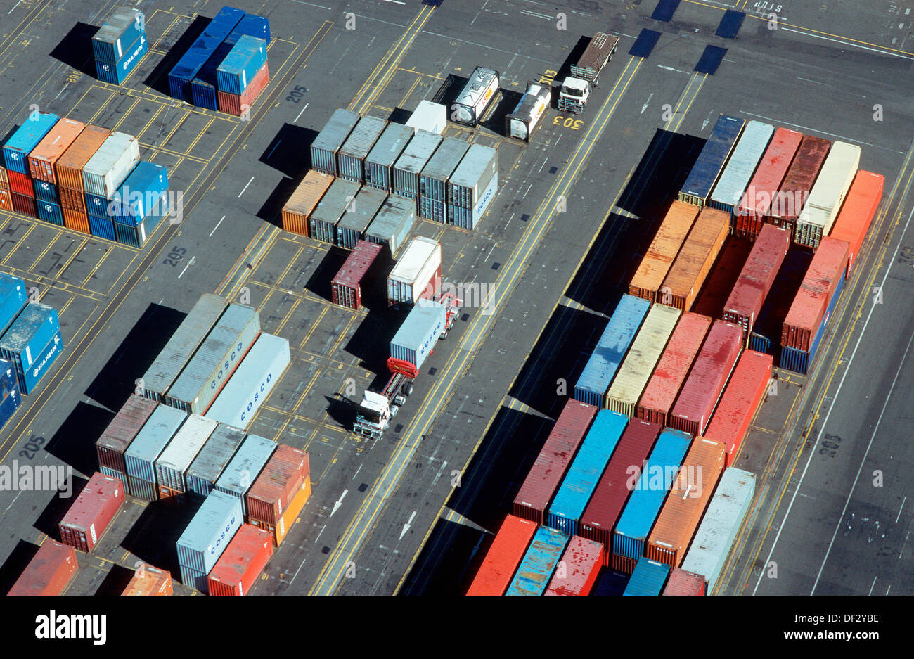 High Quality Aerial View Shipping Containers U0026 Truck In Storage Yard
