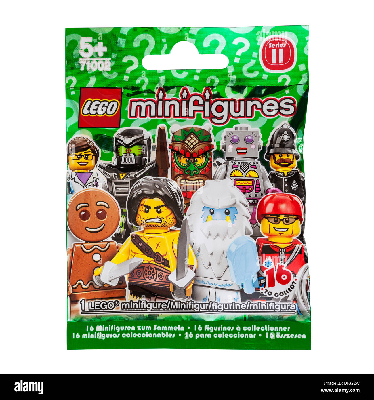 A Lego minifigure in packaging on a white background - Stock Image