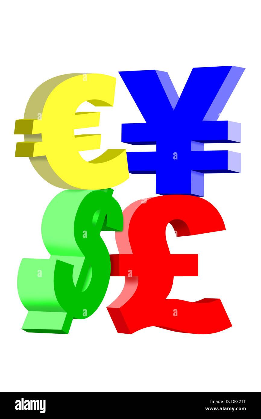 International Currency Symbols Dollar Yen British Pound And Euro