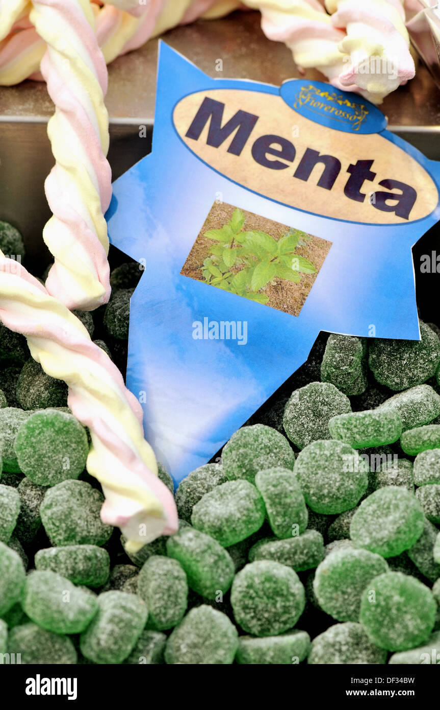 Mint flavoured candies. Chocolate and Cacao Show, Barcelona, Catalonia, Spain - Stock Image
