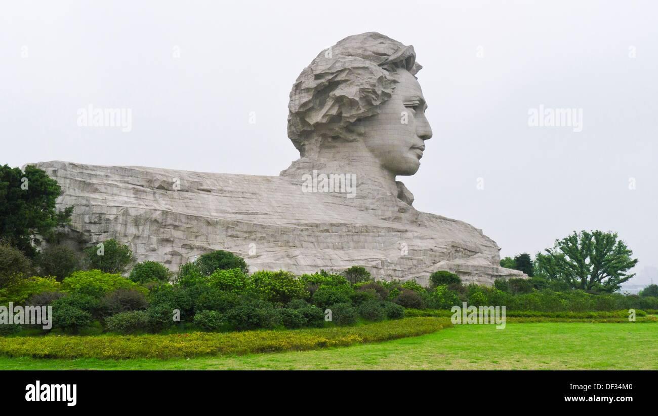 Chairman Mao's youthful sculpture can be seen at Orange Island, Changsha, Hunan, China - Stock Image