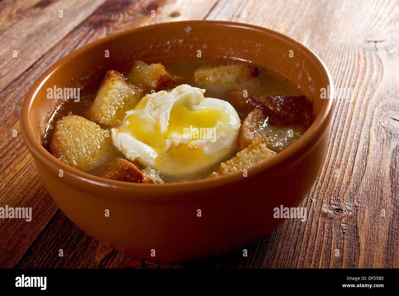 sopa de ajo , castilian garlic soup.farm-style Stock Photo