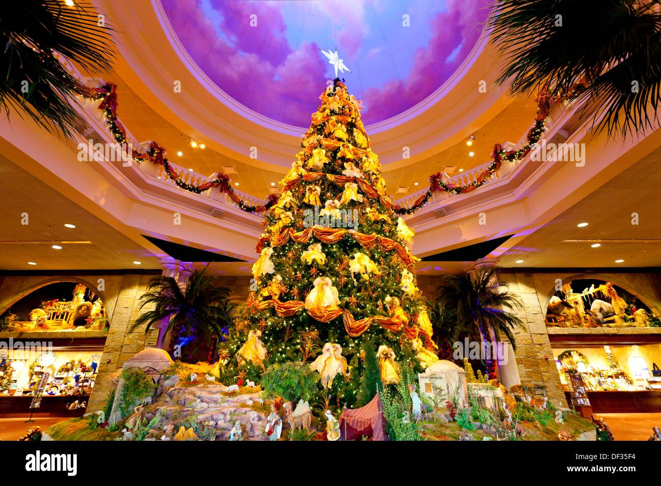 the indoor decorated christmas tree at the sound and light theater in branson missouri