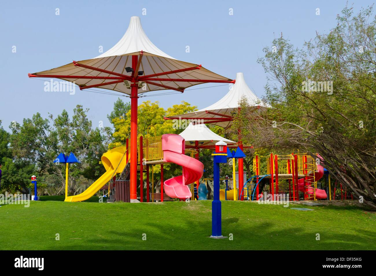 Ihram Kids For Sale Dubai: Children´s Playground In Creek Park, Dubai, UAE Stock
