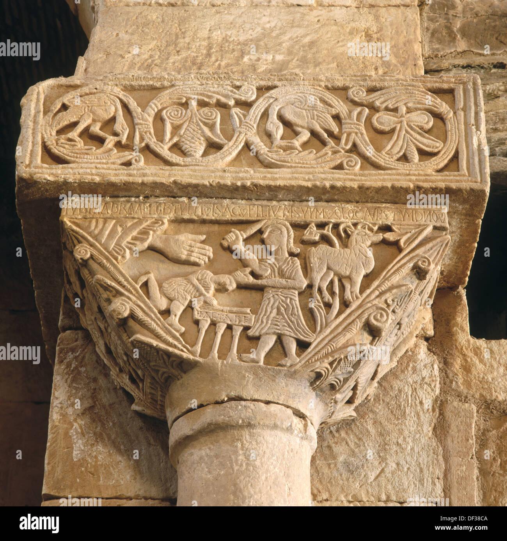 Sacrifice of Isaac depicted on capital, visigoth church of San Pedro de la Nave. Zamora province, Castilla-León, Spain - Stock Image