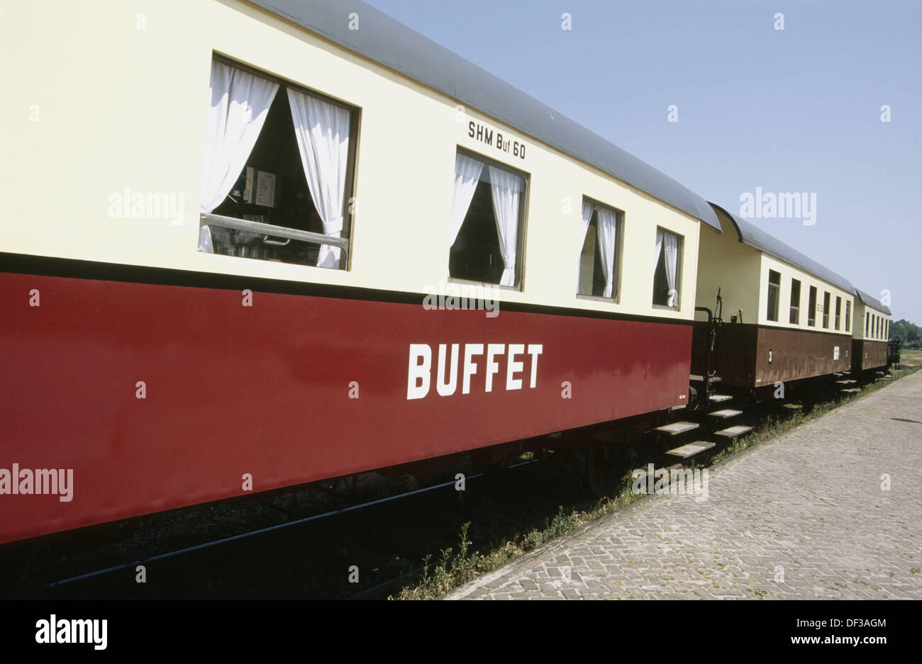 Dining car on the steam train line between Hoorn and Medemblik. Holland - Stock Image