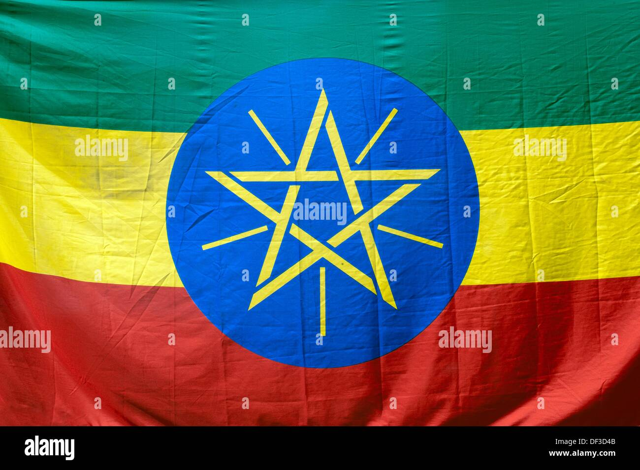 national flag of ethiopia with its green, yellow and red colors and