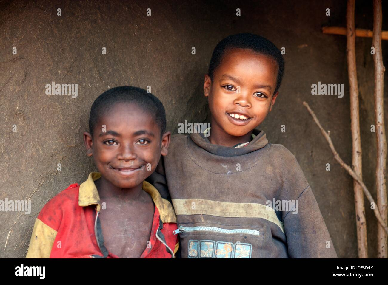 Half body shoot of two young boys from the Bench tribe, Ethiopia, East Africa. - Stock Image