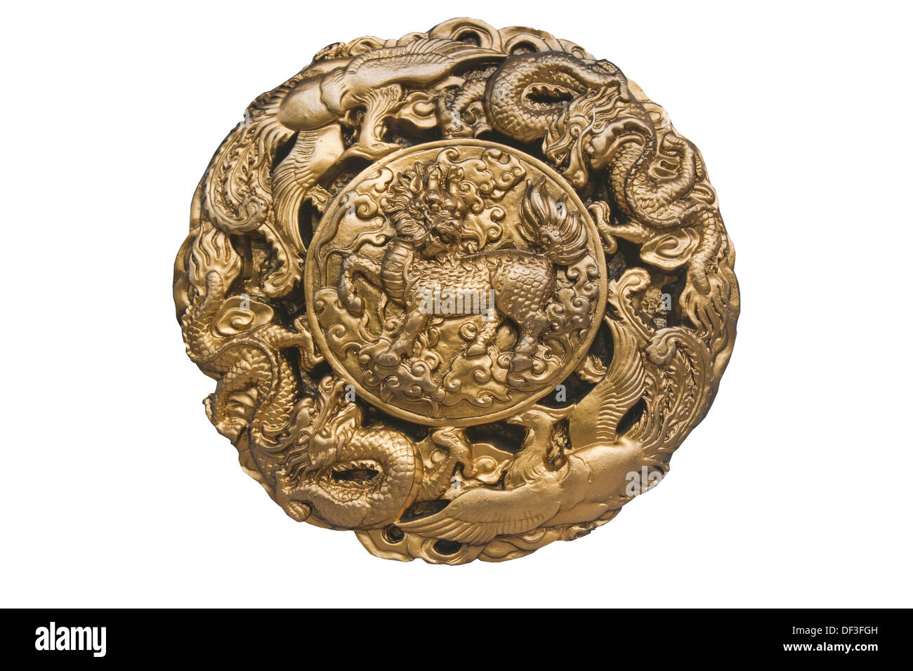ace ancient architecture asia blue carve china chinese circle circular cloud design double dragon dragons east fly frame gold - Stock Image