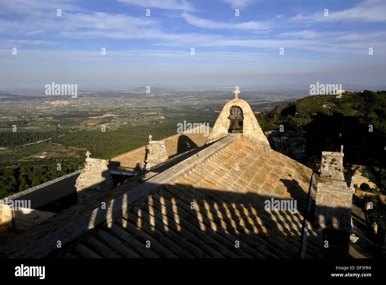 Monasterio de Cura. Cura Puig fifteenth century. Randa. District of Es Pla. Mallorca Balearic Islands. Spain - Stock Image