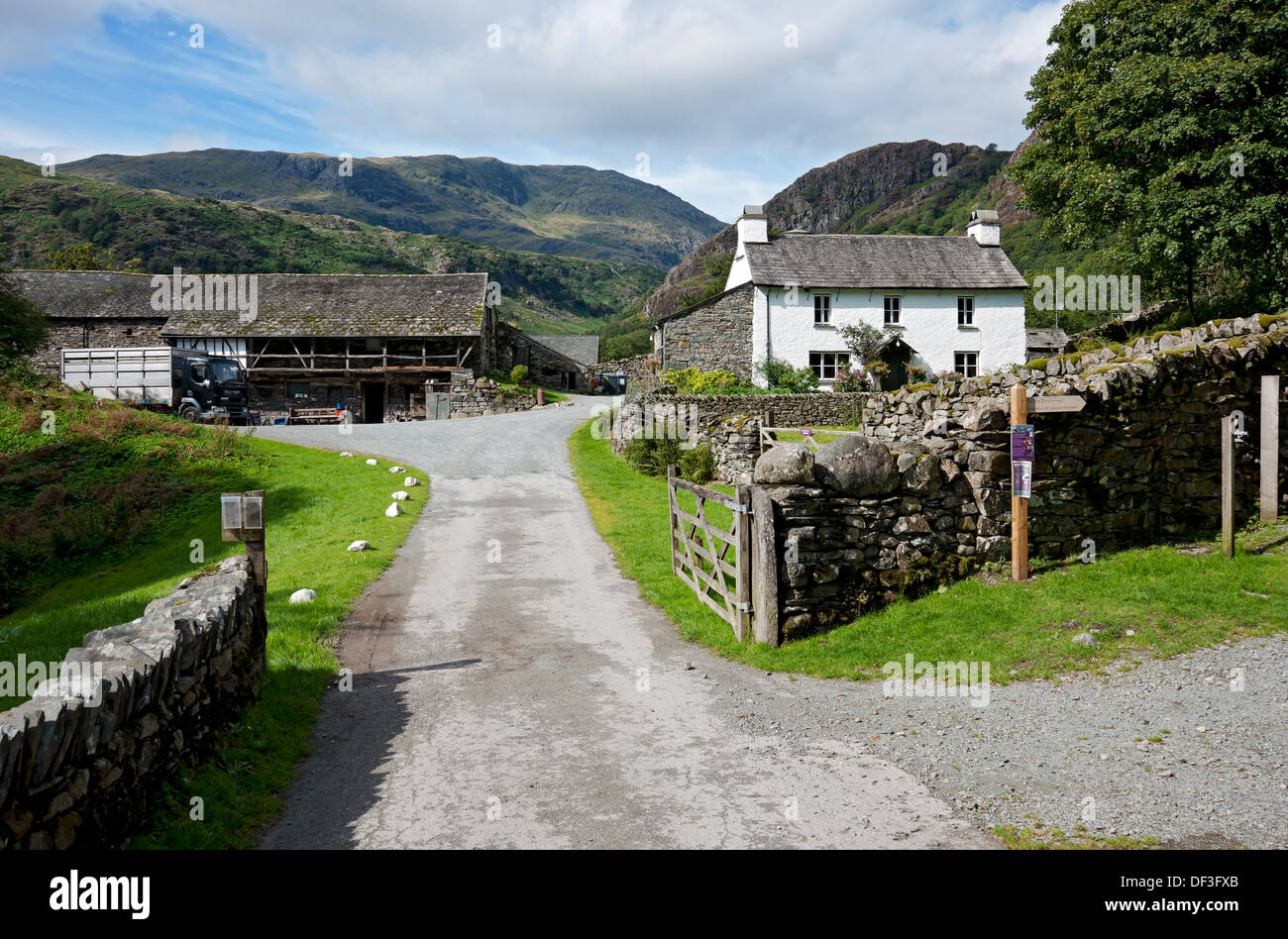 Yew Tree Farm (once owned by Beatrix Potter) near Coniston Cumbria England UK United Kingdom GB Great Britain - Stock Image
