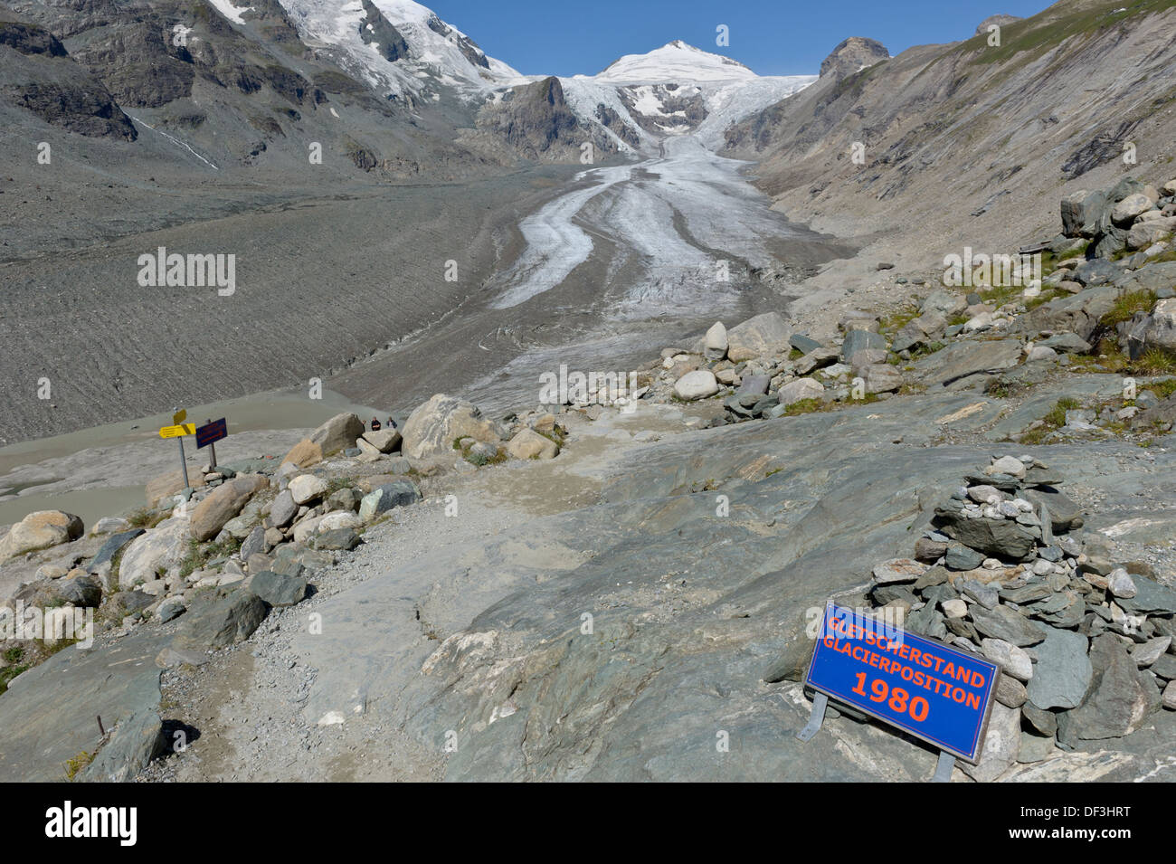 Austria / Hohe Tauern National Park - Impacts of Climate Change: glacier melting. Sign marking the retreat of the glacier. - Stock Image