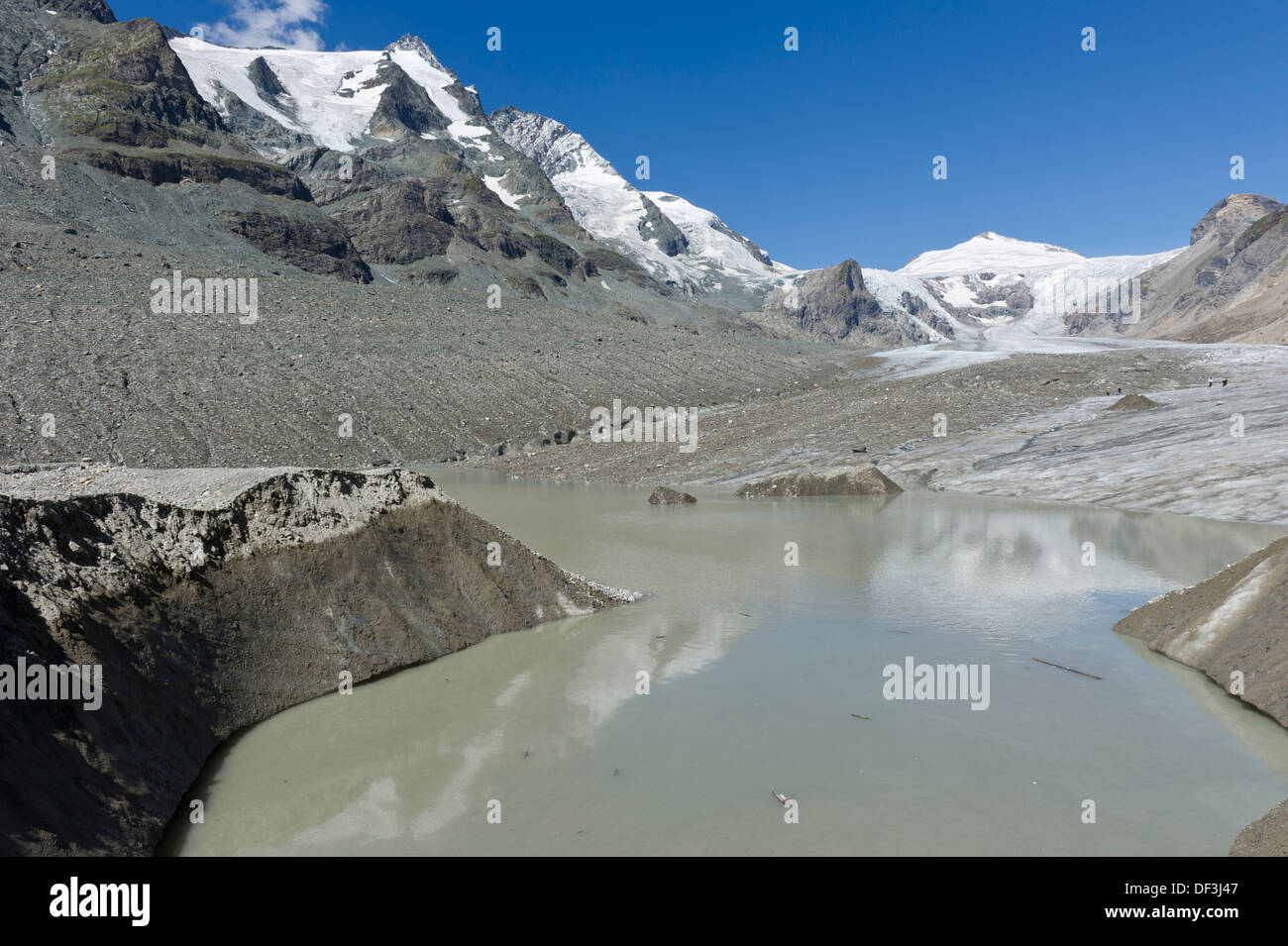 Austria / Hohe Tauern National Park - Impacts of Climate Change: glacier melting. Melting water lake at Pasterze glacier. - Stock Image