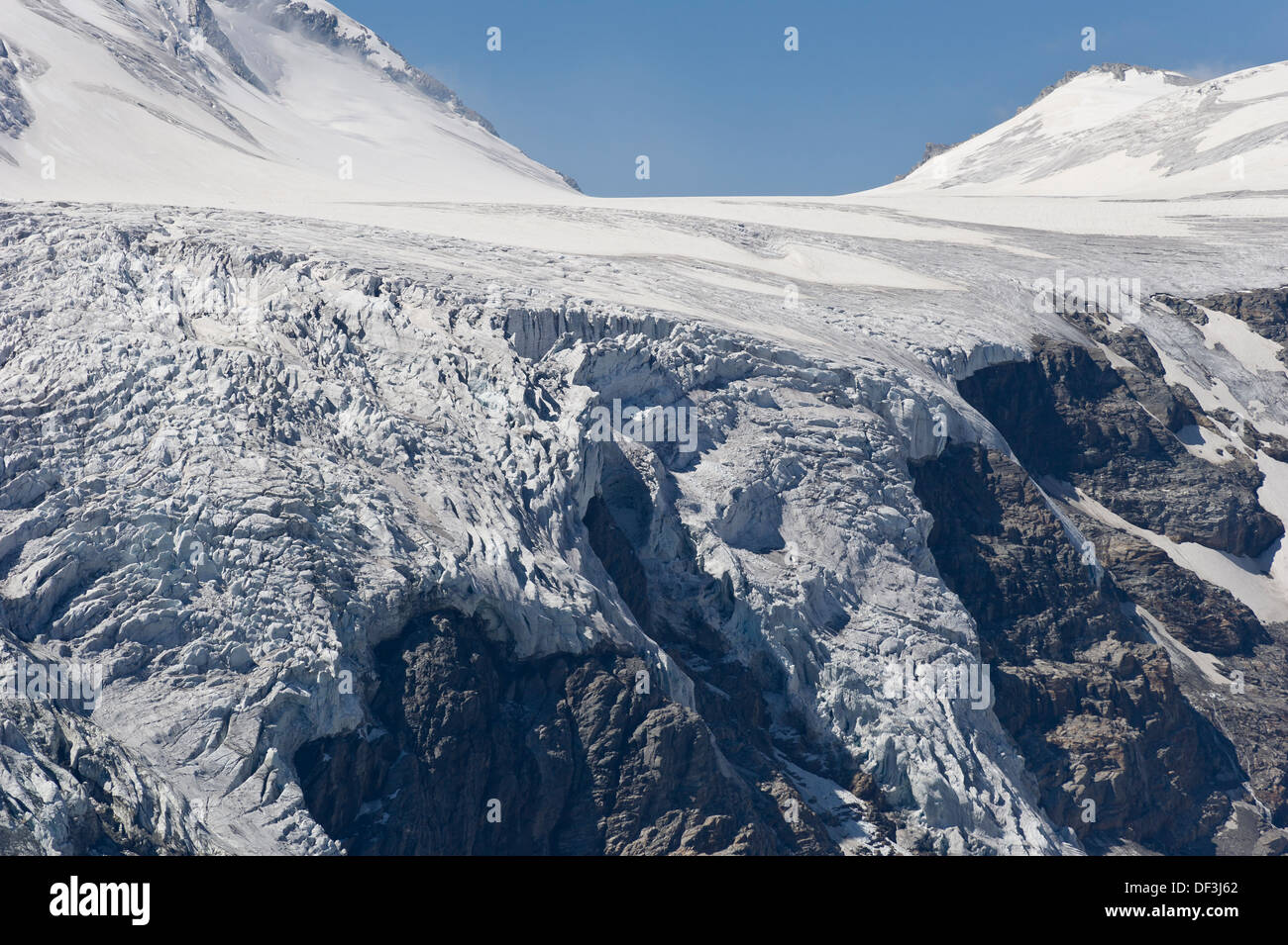 Austria / Hohe Tauern National Park - Impacts of Climate Change: glacier melting. Icefall at Pasterze glacier. - Stock Image