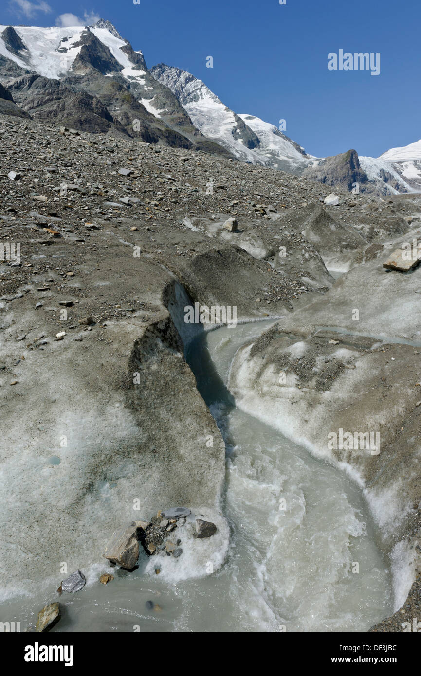 Austria / Hohe Tauern National Park - Impacts of Climate Change: glacier melting. Melting water stream beneath Mt. Grossglockner - Stock Image