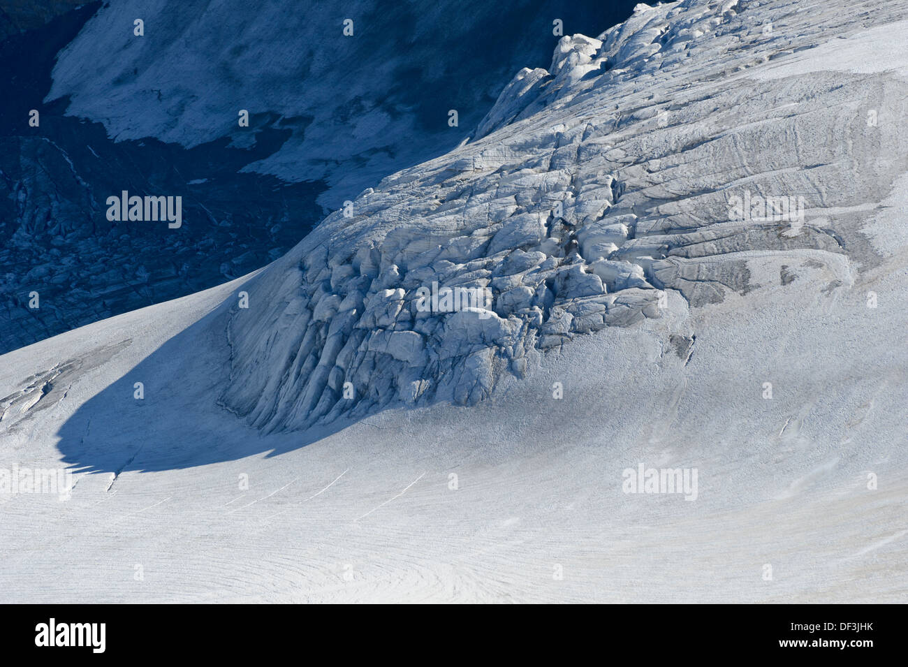Austria / Hohe Tauern National Park - Impacts of Climate Change: glacier melting. Serac zone at Mount Grossglockner. - Stock Image