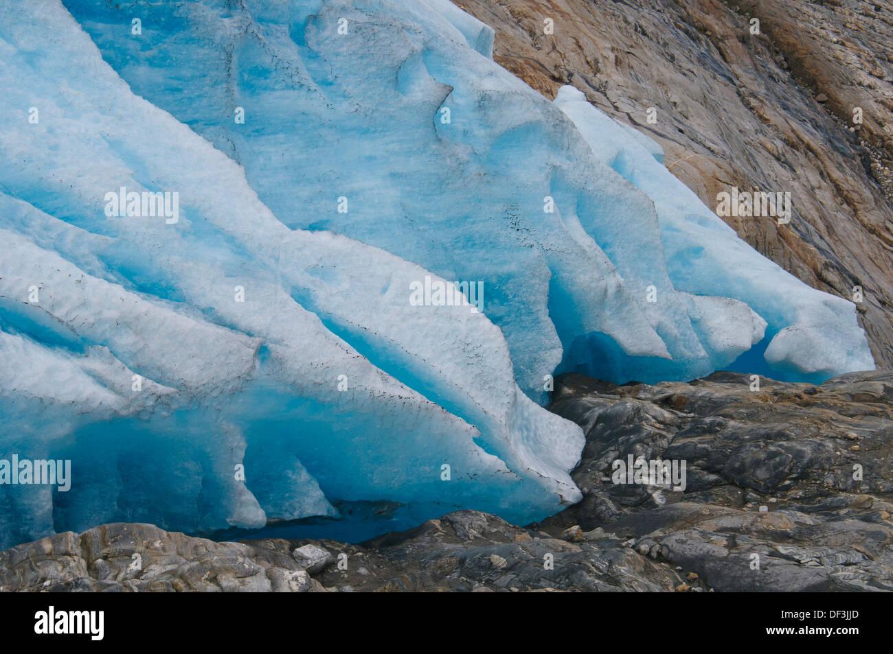 Norway / Nordland / Svartisen National Park - Impacts of Climate Change: glacier melting. Retreating Engenbreen glacier. - Stock Image