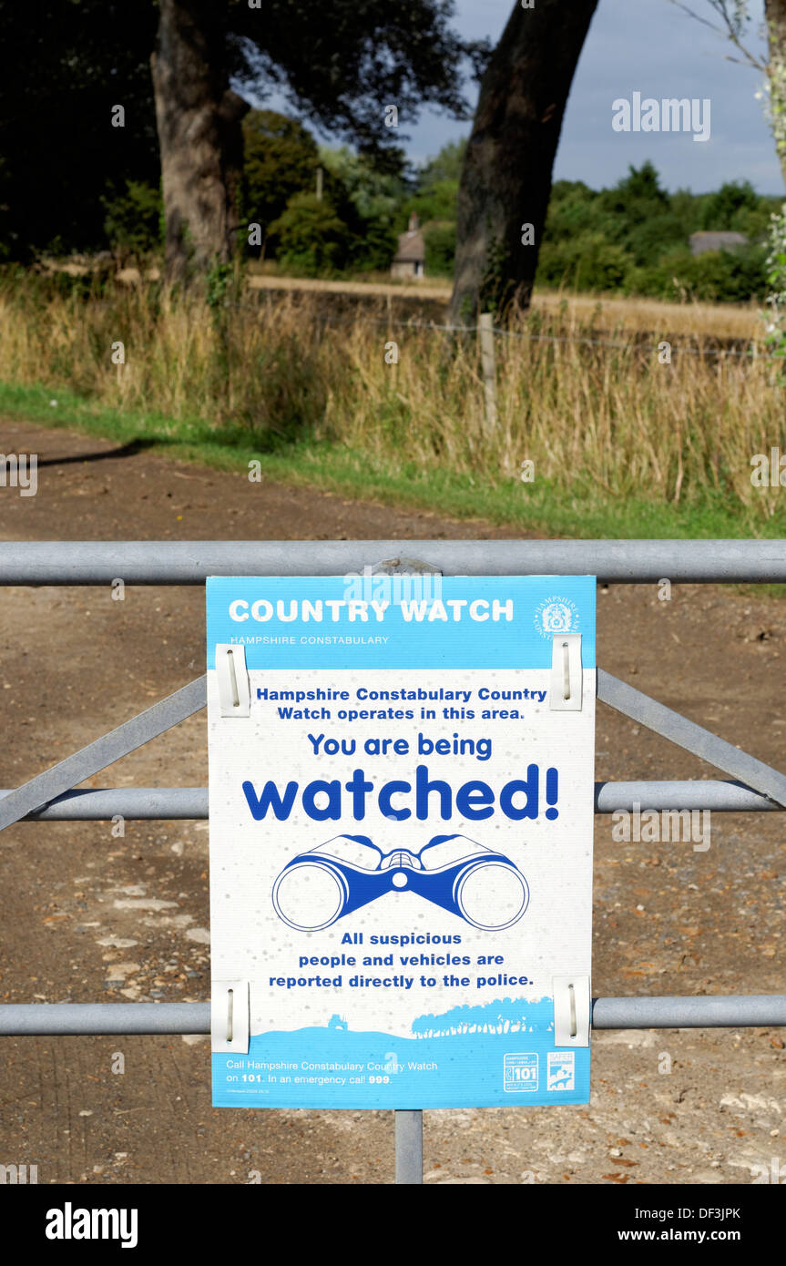 Country Watch Sign, Thorley, Yarmouth, Isle of Wight, England, UK, GB. - Stock Image