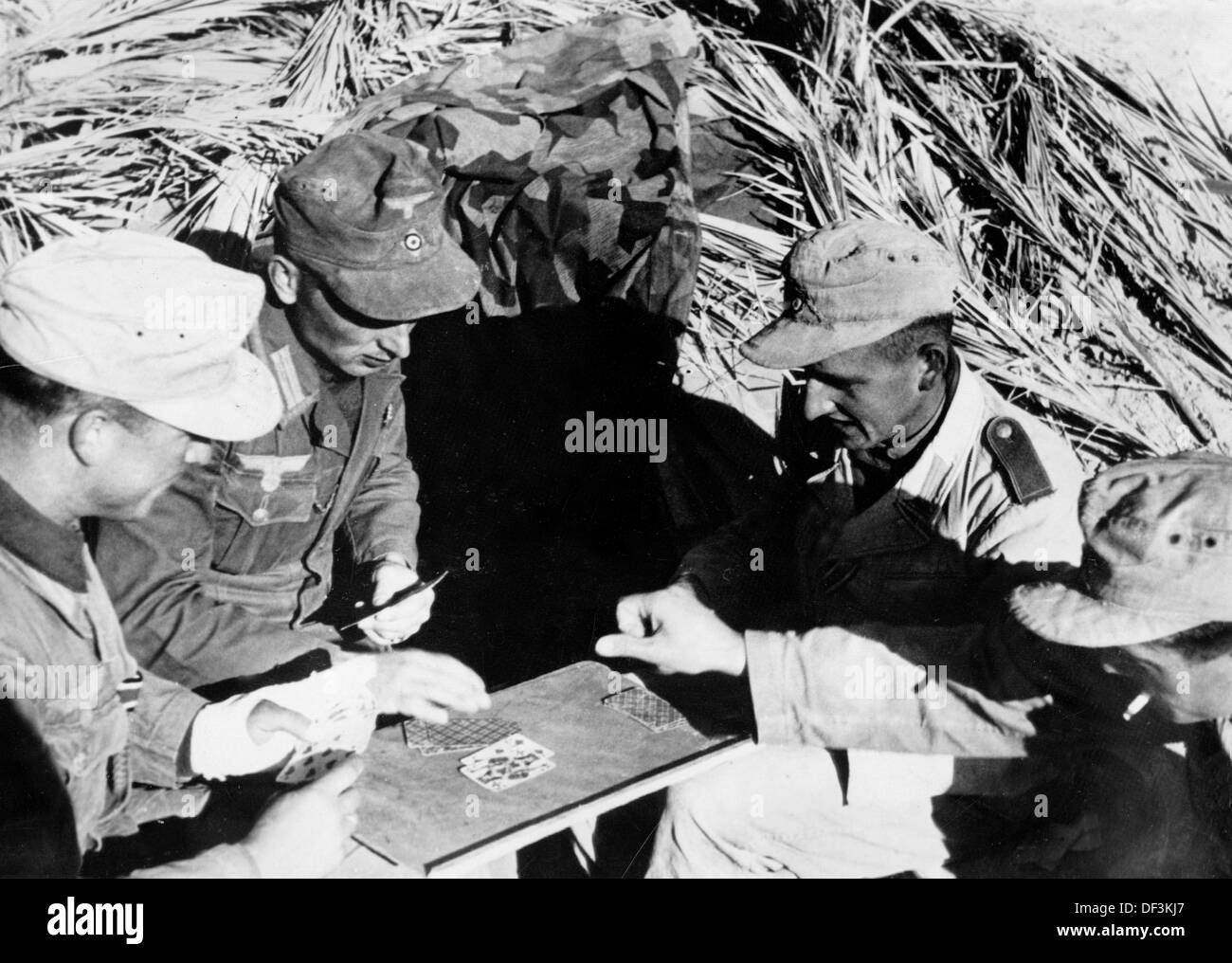 The image from the Nazi Propaganda! depicts soldiers of the German Wehrmacht playing cards in Africa, published on 4 April 1942. Place unknown. Photo: Berliner Verlag/Archiv - Stock Image