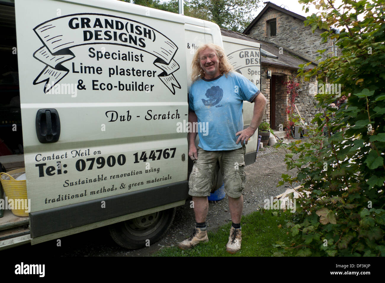 """Llanwrda, Wales UK Fri 27th Sept 2013. Neil Plume, Specialist Lime Plasterer and Eco-builder and owner of """"Grand(ish) Stock Photo"""