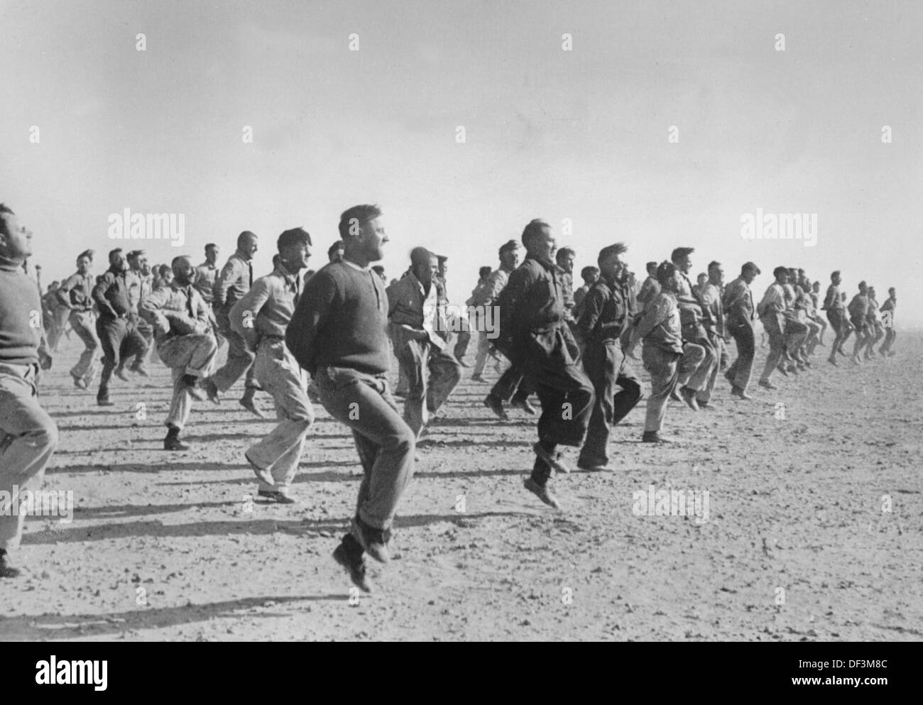 The image from the Nazi Propaganda! depicts soldiers of the German Wehrmacht doing sports in the morning in Africa, published on 5 April 1941. Place unknown. Photo: Berliner Verlag/Archiv - Stock Image