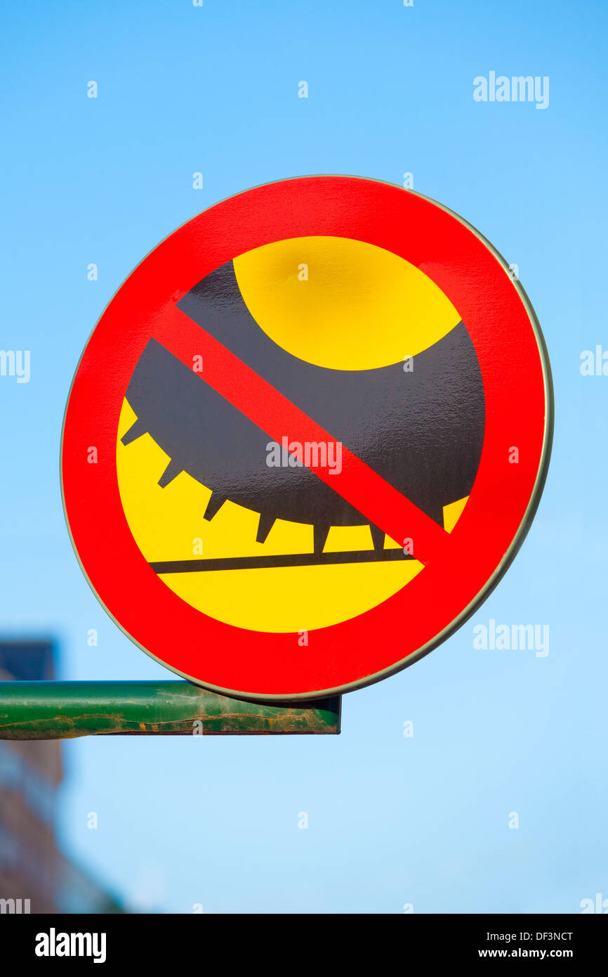 Sweden Stockholm - traffic sign - no studded tires. - Stock Image