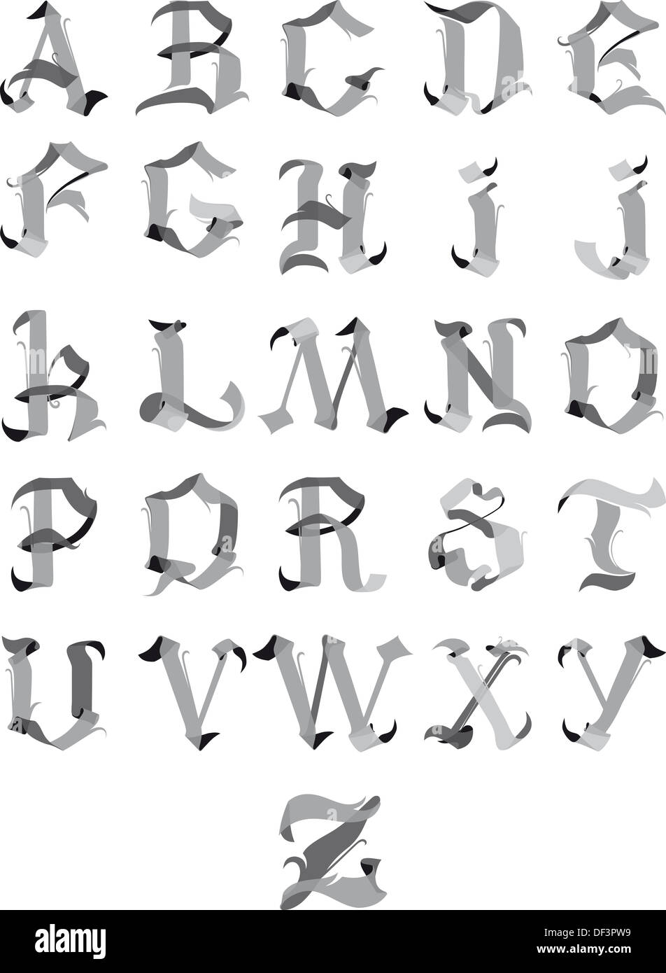 Beautiful Gothic Alphabet Letters Like Ribbons Of Isolated On A White Background