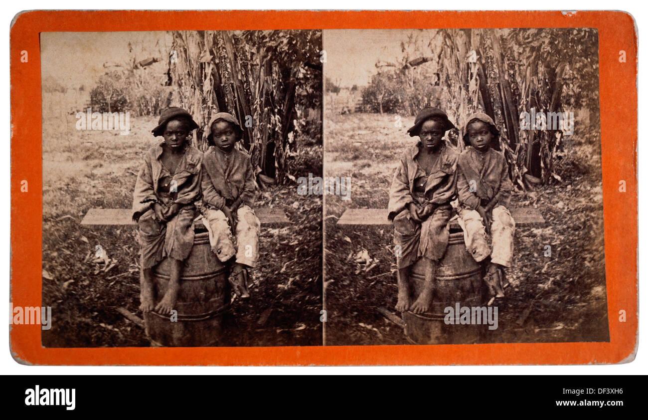 Two Young Boys, Savannah, Georgia, Stereo Photograph, 1885 - Stock Image