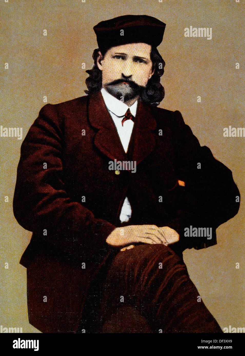 James Butler 'Wild Bill' Hickok (1837-1876), Portrait, Hand-Colored Photograph, 1873 - Stock Image