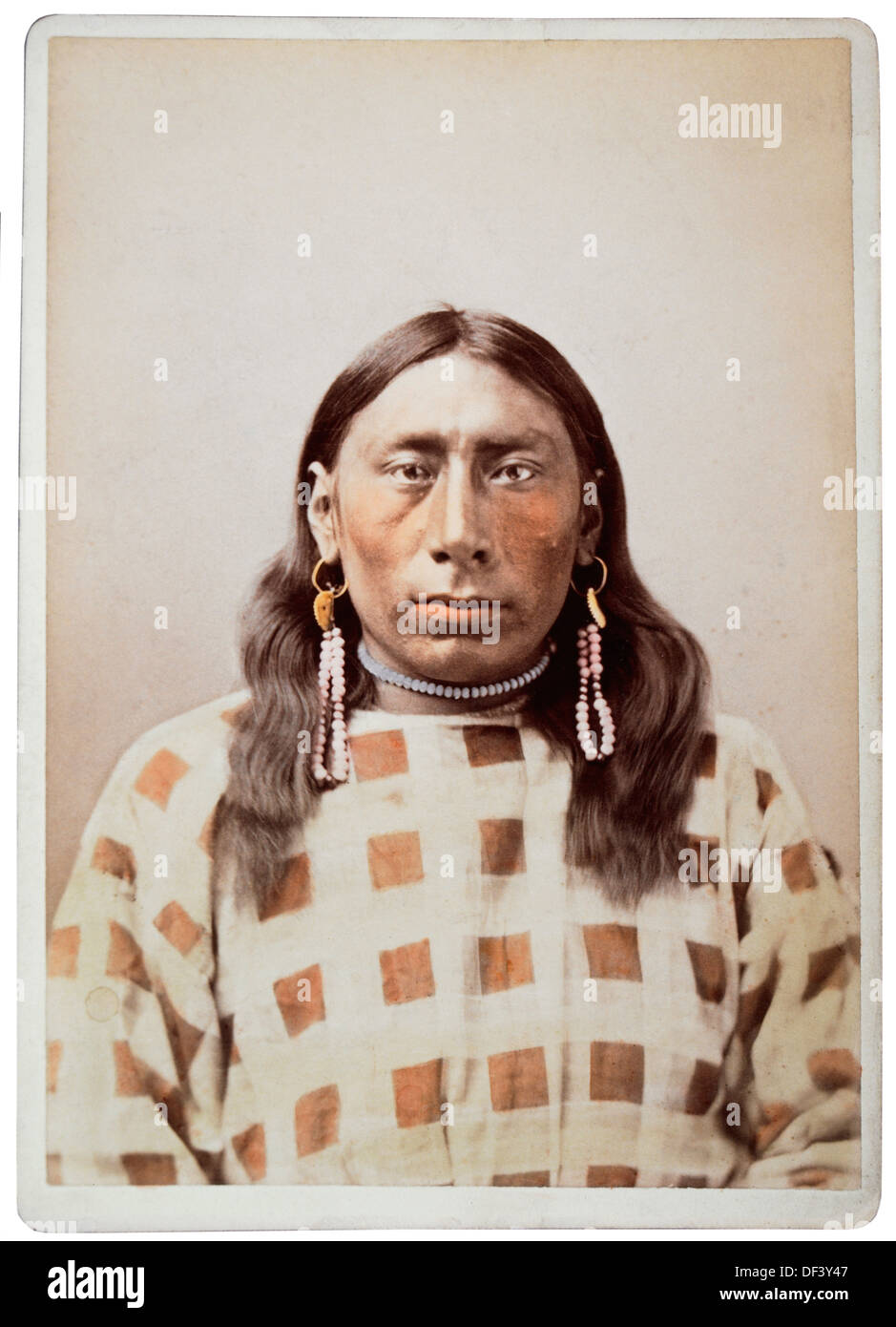 Jessie Iron Bull, Native American, Portrait, Hand-Colored Photograph, 1882 - Stock Image