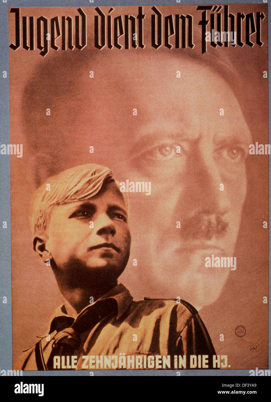 Adolf Hitler and Young Boy, Nazi Youth Poster, 'Youth Serves the Fuhrer', Germany, 1939 - Stock Image