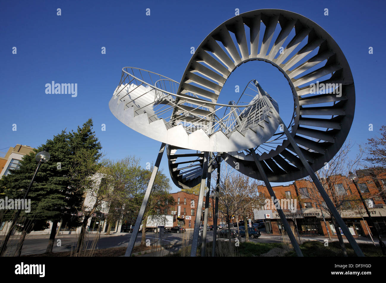 ´Révolutions´ sculpture by Michel de Broin at Papineau metro station, Montreal, Quebec, Canada - Stock Image