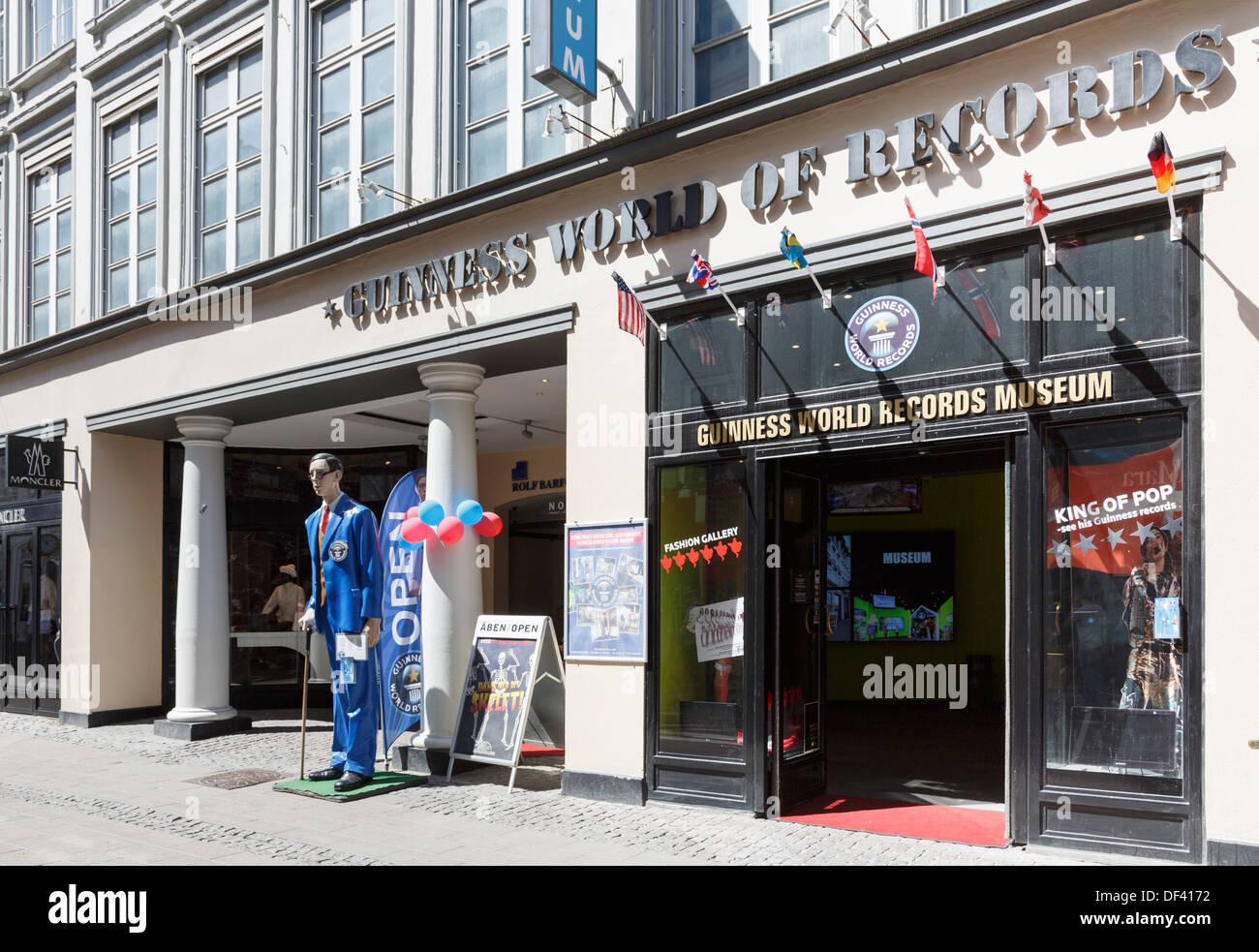 The Guinness World of Records museum front entrance in Stroget street, Copenhagen, Zealand, Denmark, Scandinavia - Stock Image