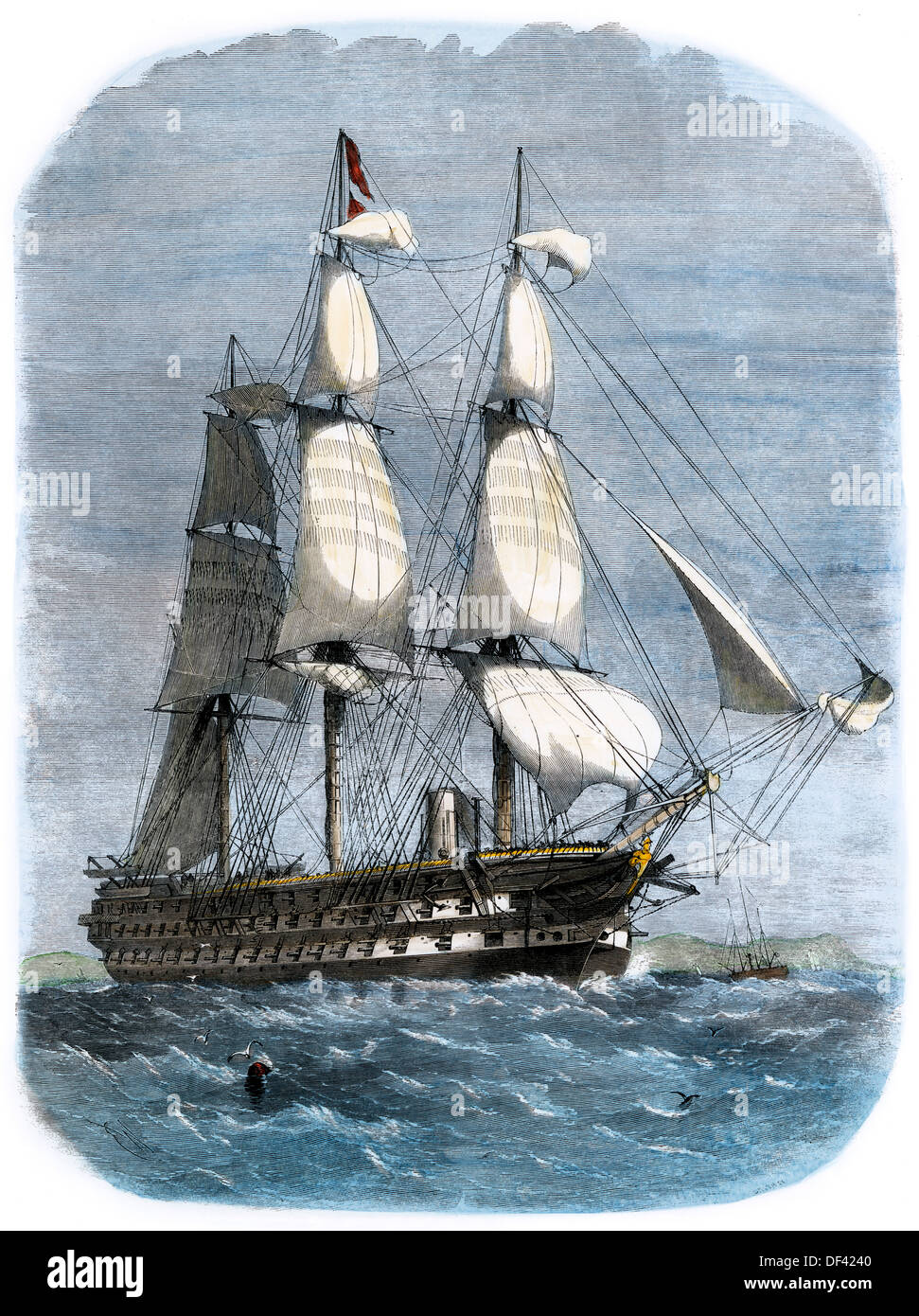 British warship HMS St George with 91 guns, carrying Prince Albert, 1861. Hand-colored woodcut - Stock Image