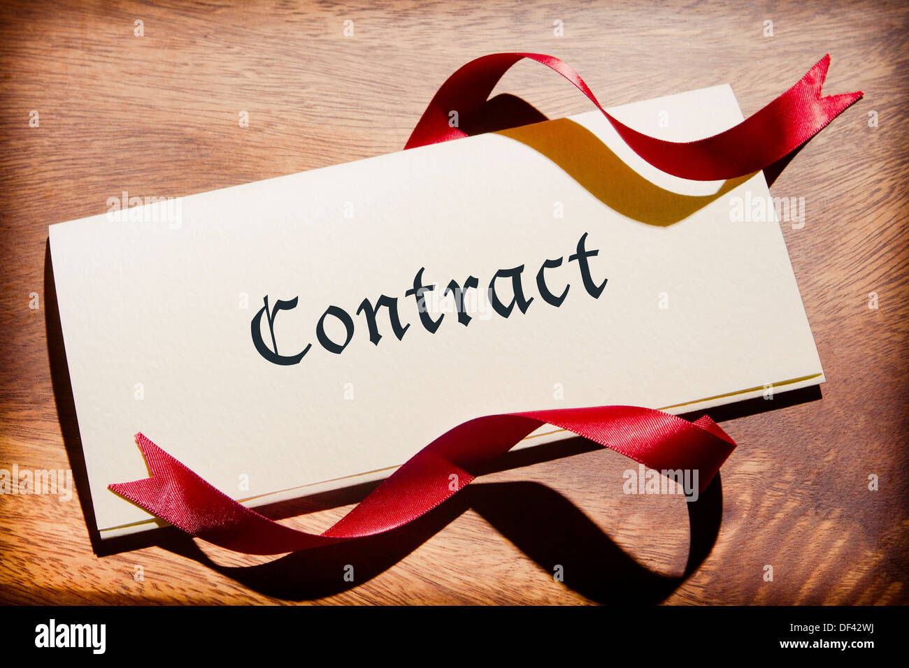 Contract Document On Wooden Desk - Stock Image