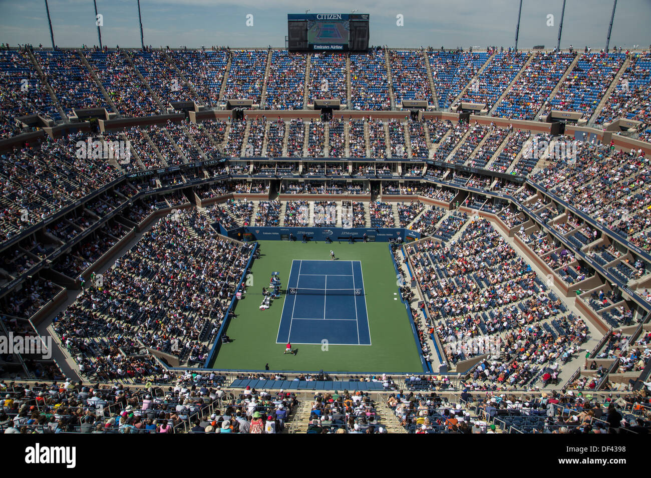 Arthur Ashe Stadium at the Billie Jean King National Tennis Center during the 2013 US Open Tennis Championships - Stock Image