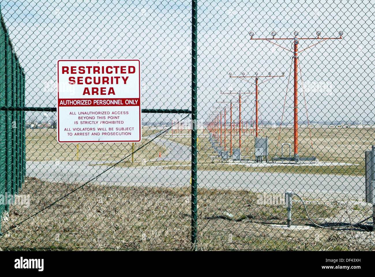 Cleveland Ohio Hopkins airport restricted security area and authorized personal only warning sign - Stock Image