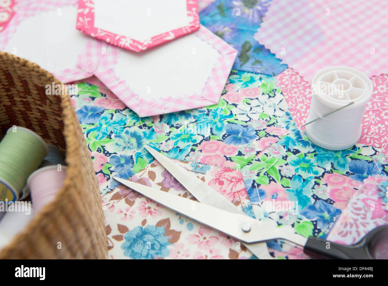 Still Life Of Quilt Making Fabric And Tools - Stock Image